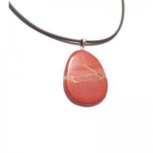 Colgante jaspe rojo cabujón plata de ley