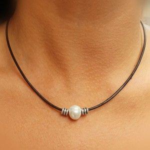 Collar Perla Natural 1cm...