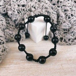 Pulsera ágata negra bolas ajustable shambala