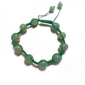 Pulsera cuarzo verde bolas ajustable shambala