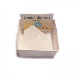 Piedra en bruto cristal de roca en cajita de colección 4x4 cm