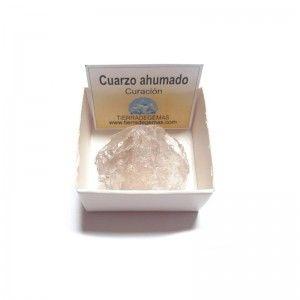 Cuarzo ahumado en bruto piedra natural en caja de colección 4x4
