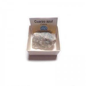 Cuarzo Azul piedra en bruto natural en cajita de coleccion 4x4