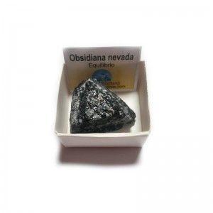 Obsidiana nevada en bruto piedra natural en cajita de colección 4x4 cm