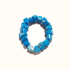Pulsera de mujer piedra mineral cristal turquenita azul chip grande