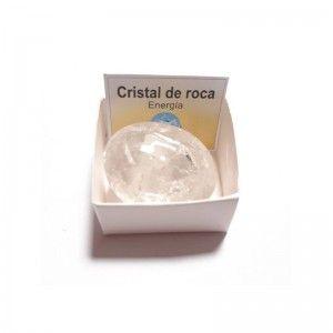 Cristal de roca cuarzo blanco piedra natural rodado 3-4 cm en caja de coleccion