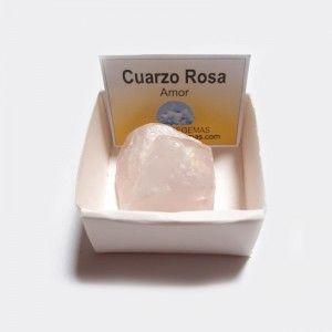 Cuarzo Rosa En Bruto Cristal Natural En cajita de colección 4x4 cm (amor)
