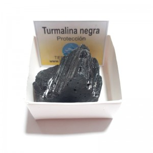 Turmalina Negra Cuarzo Piedra Cristal Natural En Cajita de Colección 4x4 cm