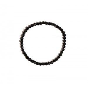 Pulsera Turmalina Negra Natural Bolas Elástica 4mm