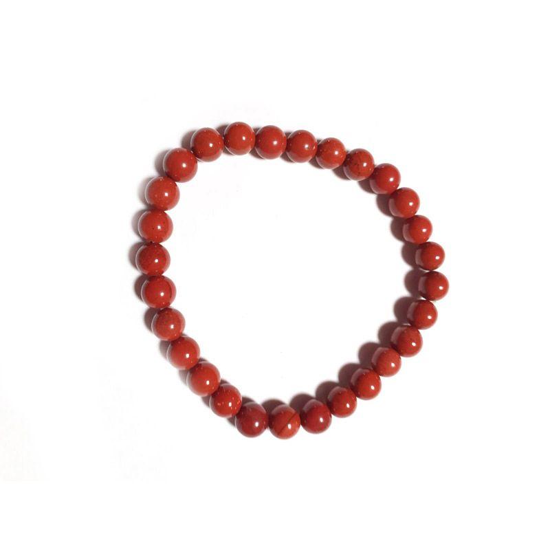 pulsera jaspe rojo bolas piedra natural
