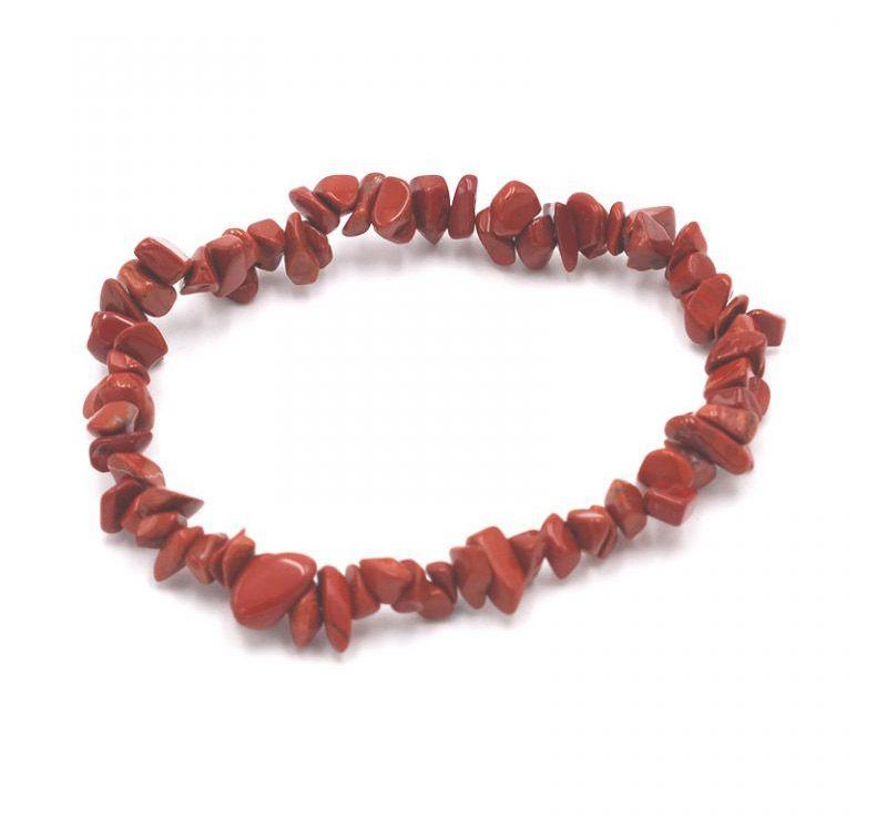 pulsera jaspe rojo elástica piedra natural